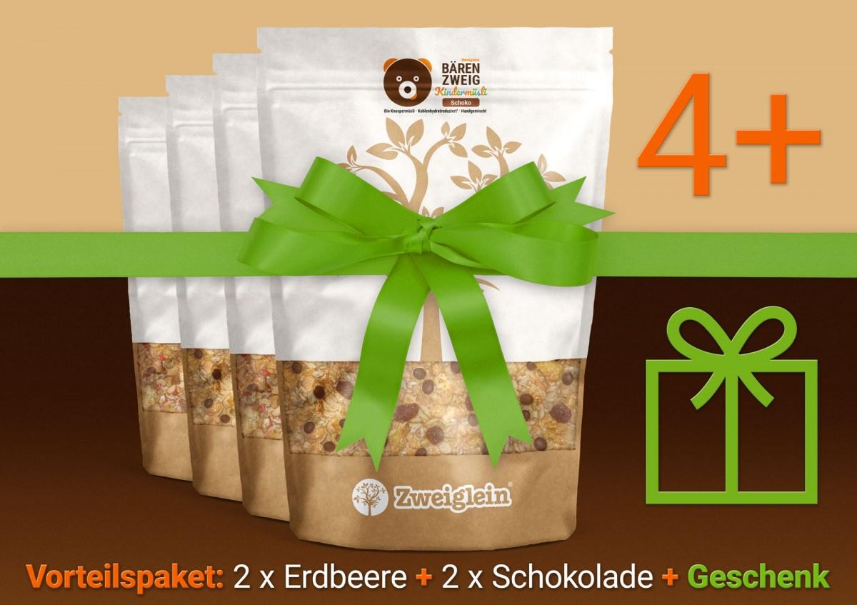 BÄRENZWEIG Bio Kindermüsli von Zweiglein - Vorteilspaket mit 4 Müslis + Geschenk